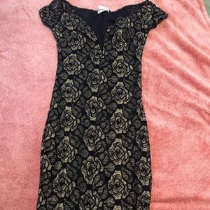 Gold and black lace design dress